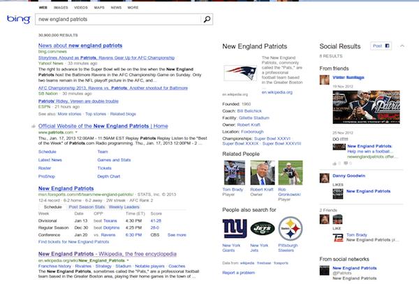 Résultats de recherche sur Bing