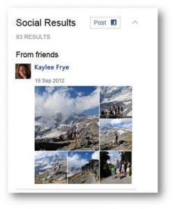 Lightbox de photos d'amis sur Bing