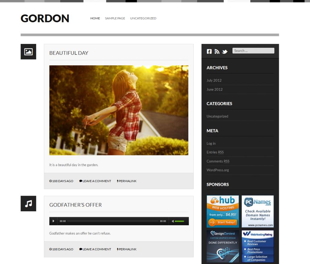Thème Gordon pour Wordpress