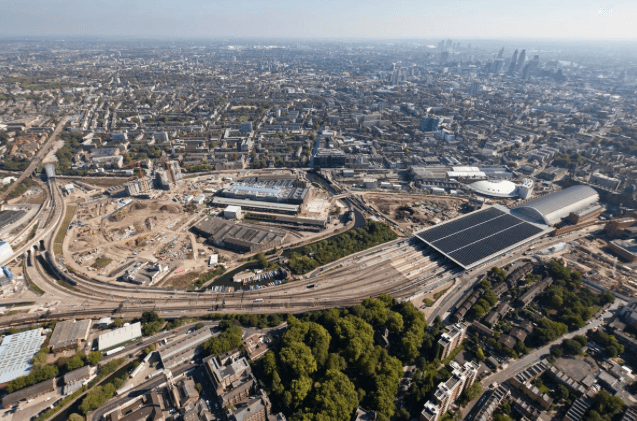 Construction dans le quartier de King's Cross à Londres