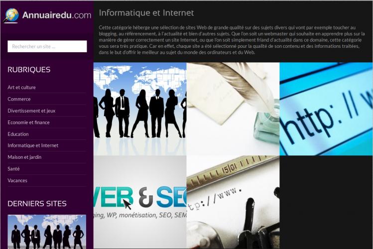 La catégorie Informatique-Internet de l'annuaire