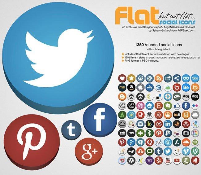 Pack d'icônes plats et arrondis pour les réseaux sociaux