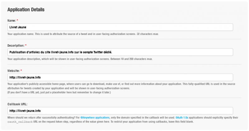 Formulaire de création d'application Twitter