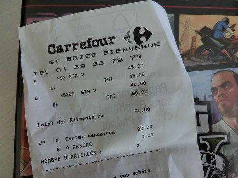Ticket de caisse GTA V