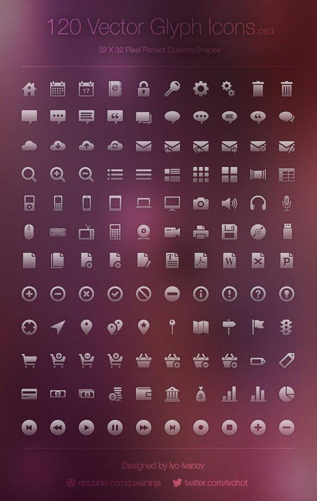 120 icônes vecteur Glyph