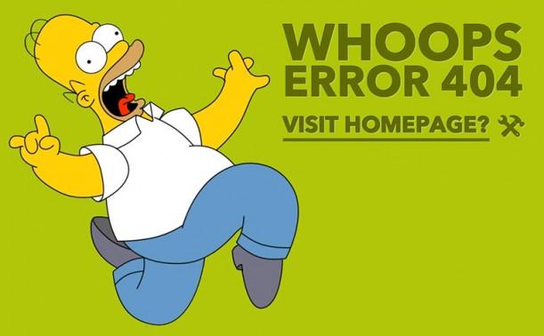 Superbe page 404 avec Homer Simpson