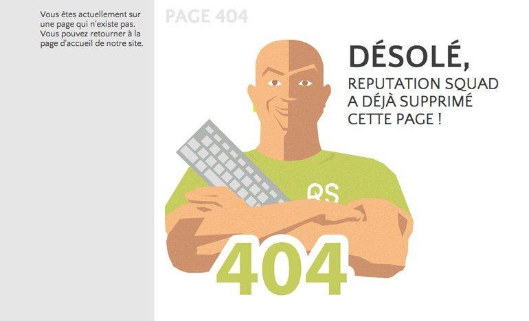 Page d'erreur 404 du site Reputation Squad