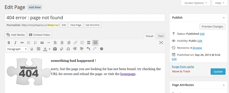 Plugin WordPress : 404page