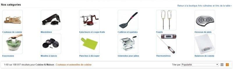 Amazon propose près de 190 000 produits dans sa catégorie : Couteaux et ustensiles de cuisine