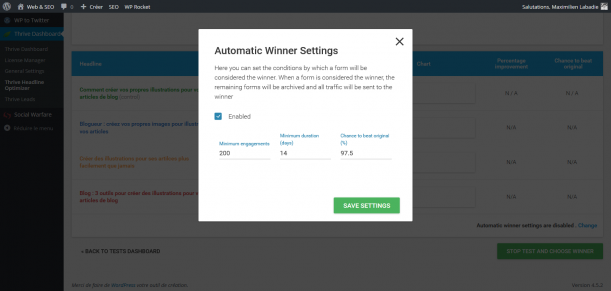 Thrive Headline Optimizer test