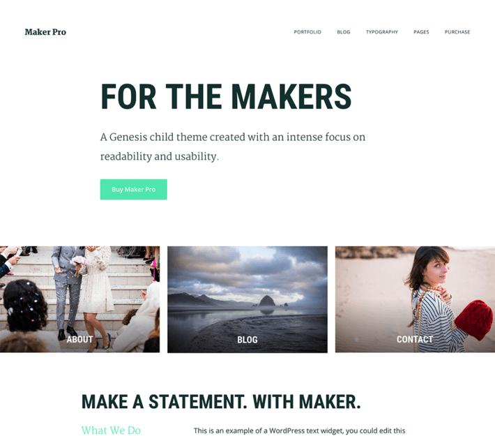 Aperçu du nouveau thème : Maker Pro