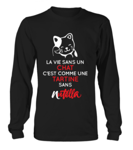 t-shirt manches longues chat nutella