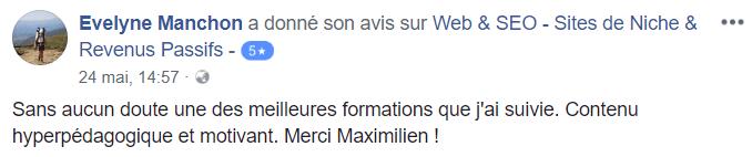 Avis Formation Site de Niche Web & SEO | Evelyne