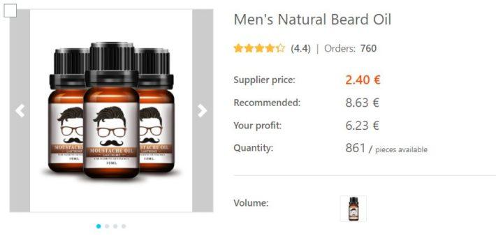 dropshipping huile à barbe