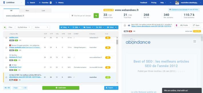 Résultats pour webandseo.fr sur LinkMiner