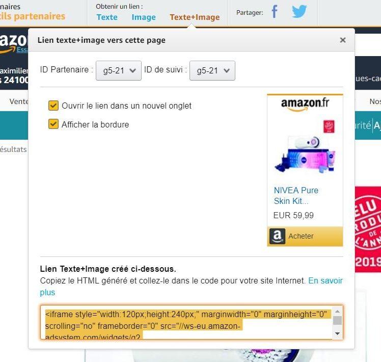 Affiliation Amazon : Création d'un lien Texte + Image (Iframe)