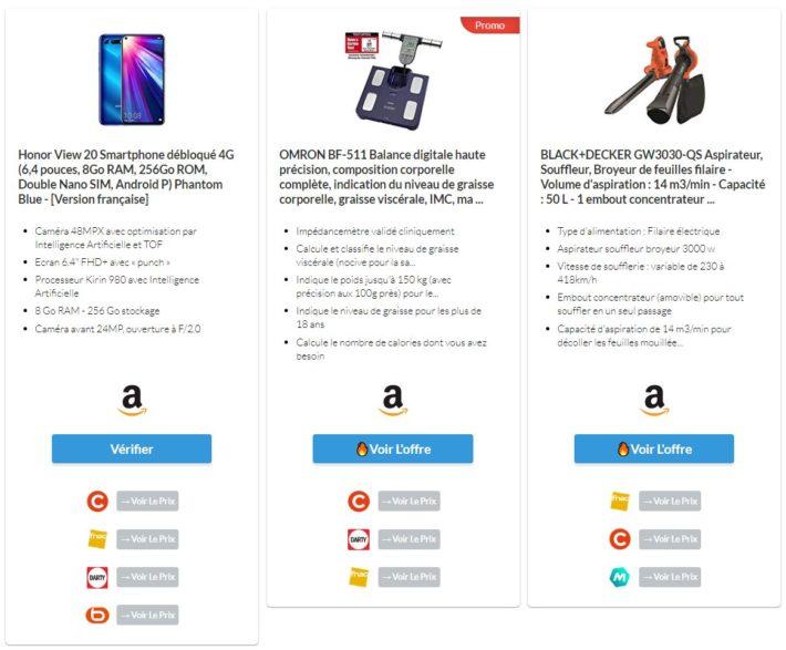 Affichage de plusieurs produits en grille verticale (multiple ASIN)
