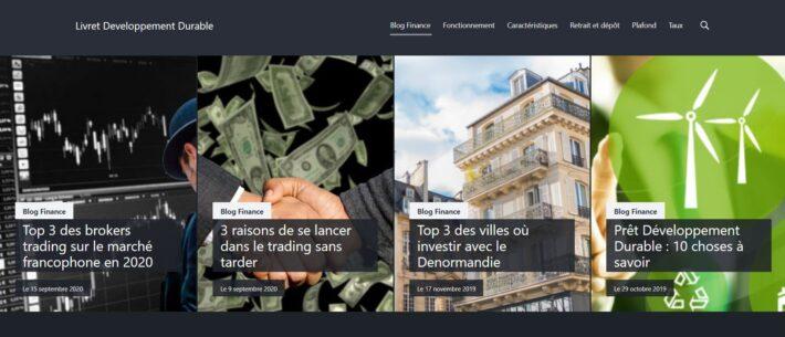 Le site livret-developpement-durable.net après le changement de thème